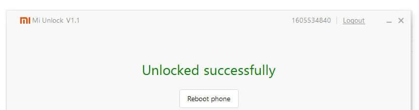 Unlock MI device successfully
