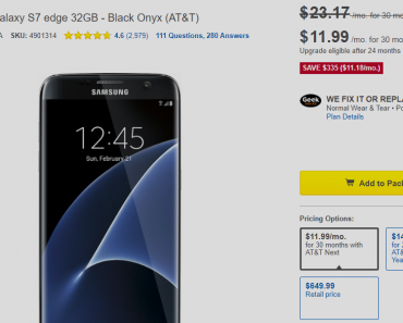 Galaxy S7 Edge deal at Best buy