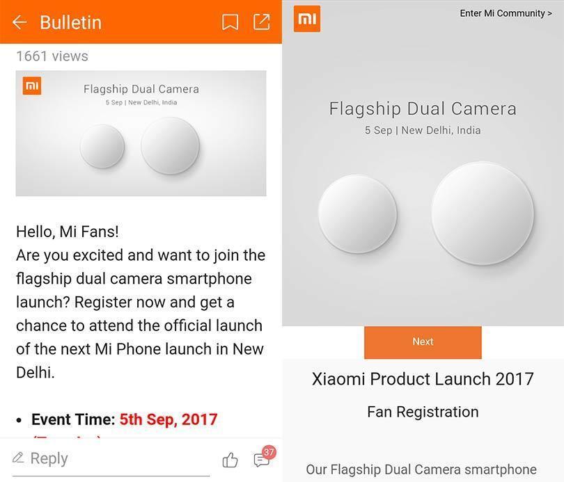 Xiaomi Mi Daul camera phone teaser image