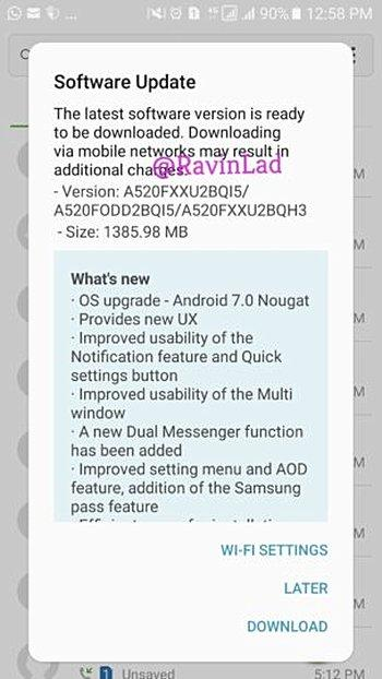 Galaxy A5 2017 Android Nougat update chnagelog