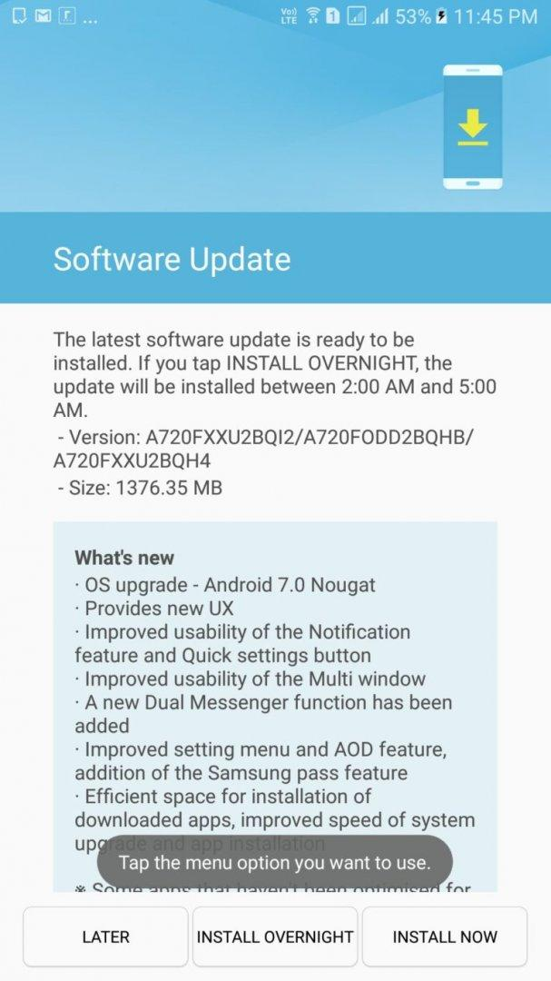 Samsung galaxy A7 2017 Nougat Update