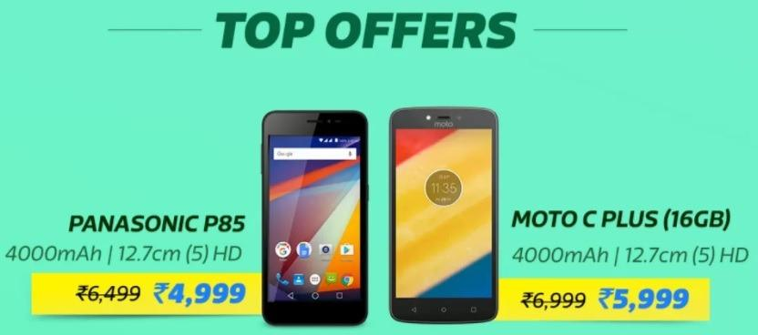 Flipkart Big Billion Sale- Panasonic P85 and Moto C Plus