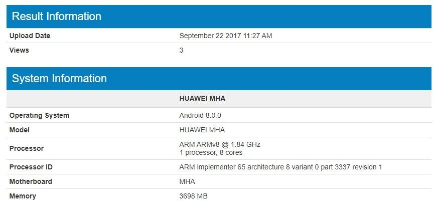Huawei Mate 9 Android Oreo Geekbench leak