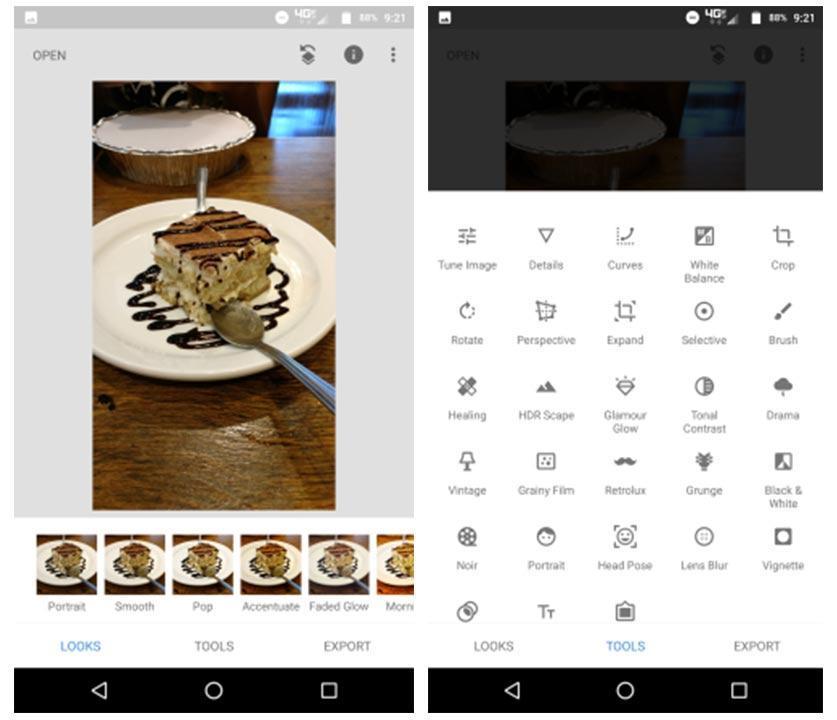 Snapseed app new UI