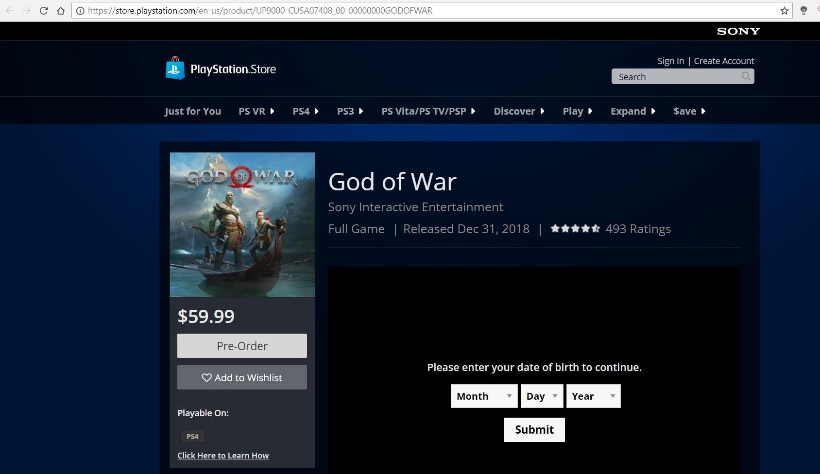 God of War Play Station store leaks