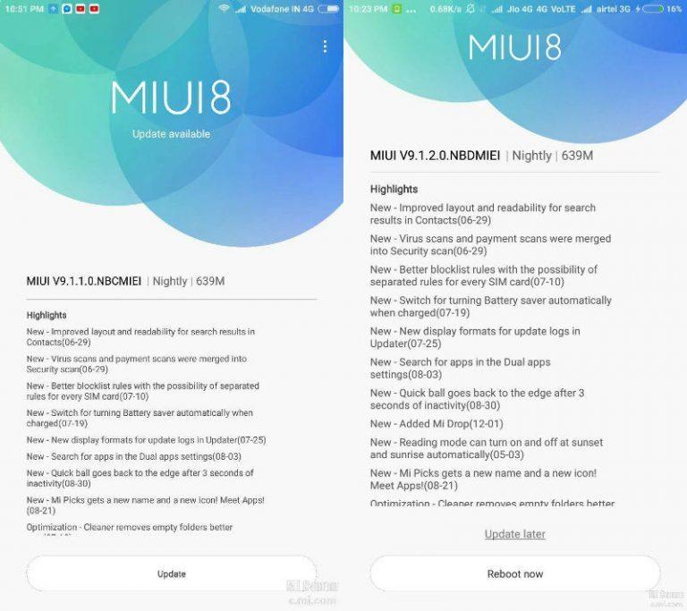 Mi Max MIUI 9 update