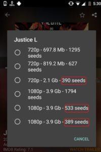Showbox Download options