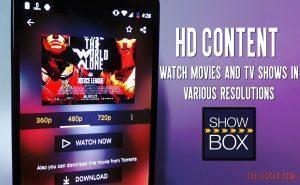 Showbox App HD Content settings