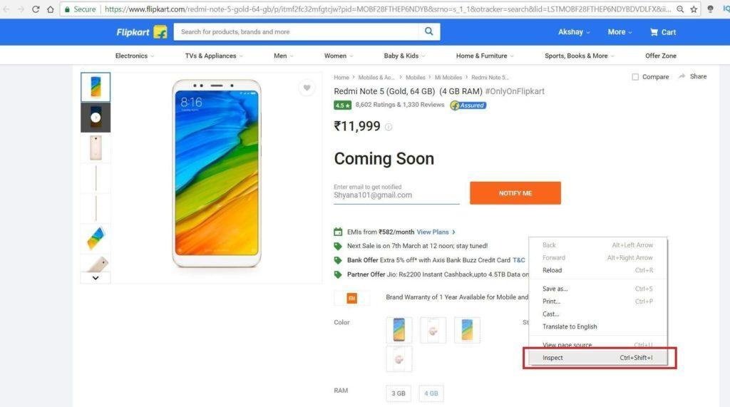 Image Shows the Selection of the Inspect option within Chrome on Redmi Note 5's buying web page