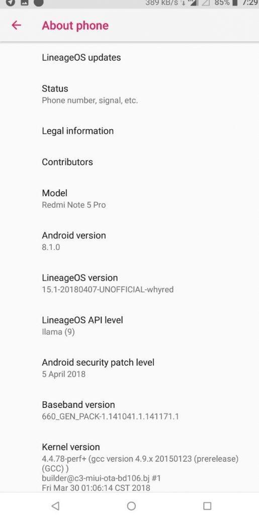 Redmi Note 5 Pro LineageOS 15.1