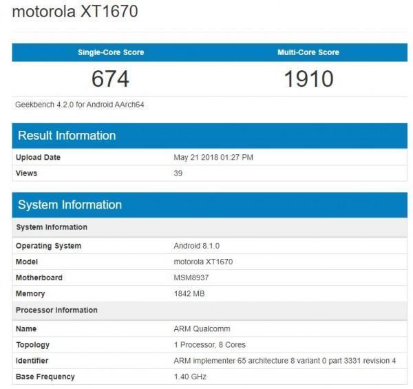 Moto G5 Android Oreo 8.1 benchmarks leak