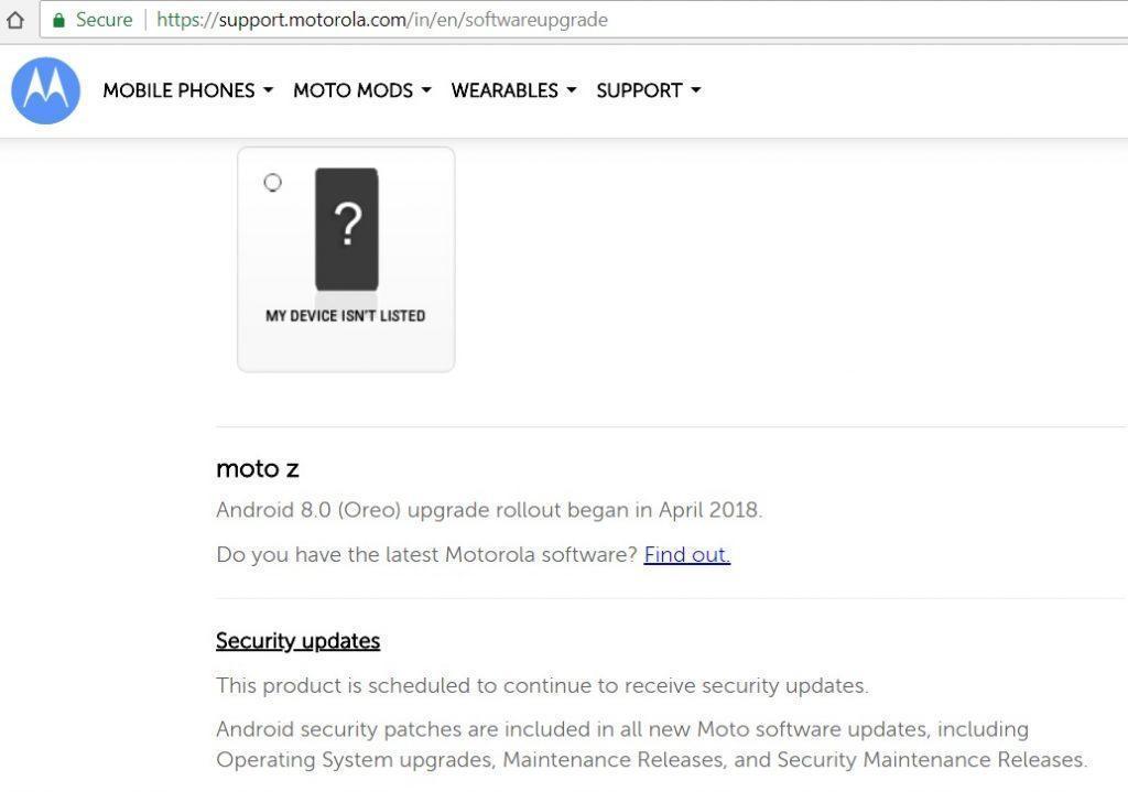 Moto Z Oreo update