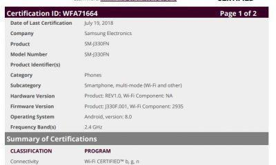 Galaxy J3 2017 WIfi Alliance