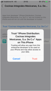 now click on Trust again to complete the process.