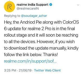 RealMe 2 Pro Android 9 Pie based ColorOS 6 update available to