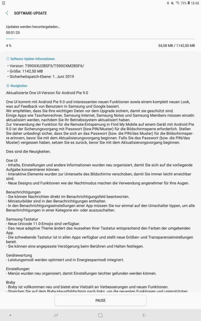 One UI update changelog on Galaxy Tab A 10.5 (WiFi model)